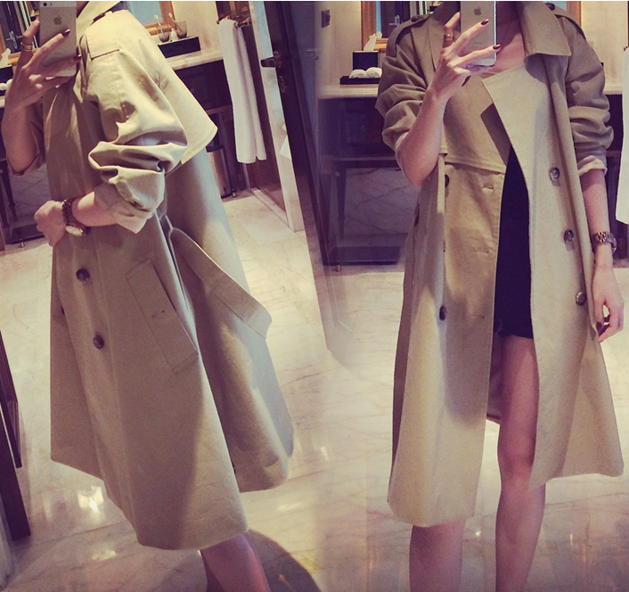 Turn-down Collar Belt Slim Double Button Mid-length Coat - Meet Yours Fashion - 4