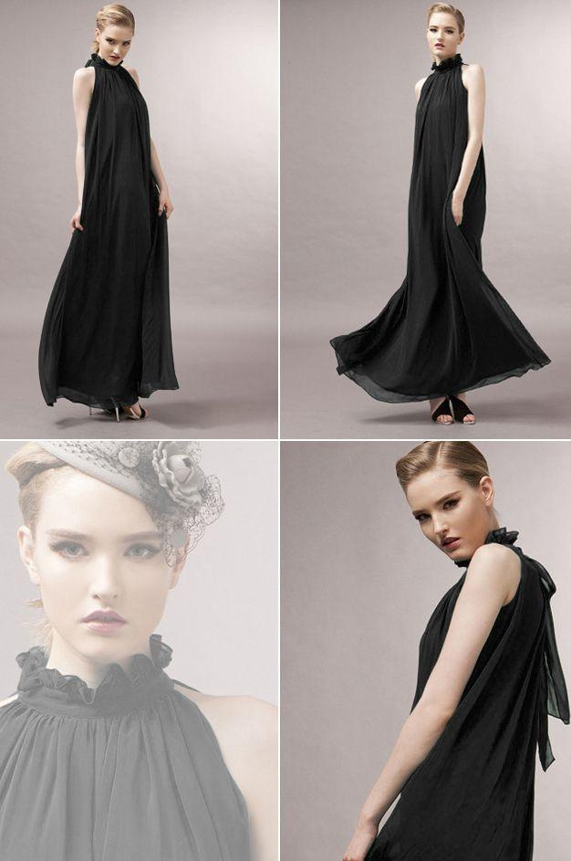 High-neck Sleeveless Halter Lace Up Pleated Solid Bohemian Dress - Meet Yours Fashion - 4