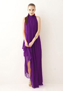 High-neck Sleeveless Halter Lace Up Pleated Solid Bohemian Dress - Meet Yours Fashion - 3
