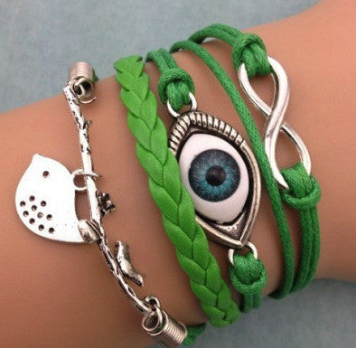 Turkey Eyes Birds Branches Wax Rope Bracelet - Oh Yours Fashion