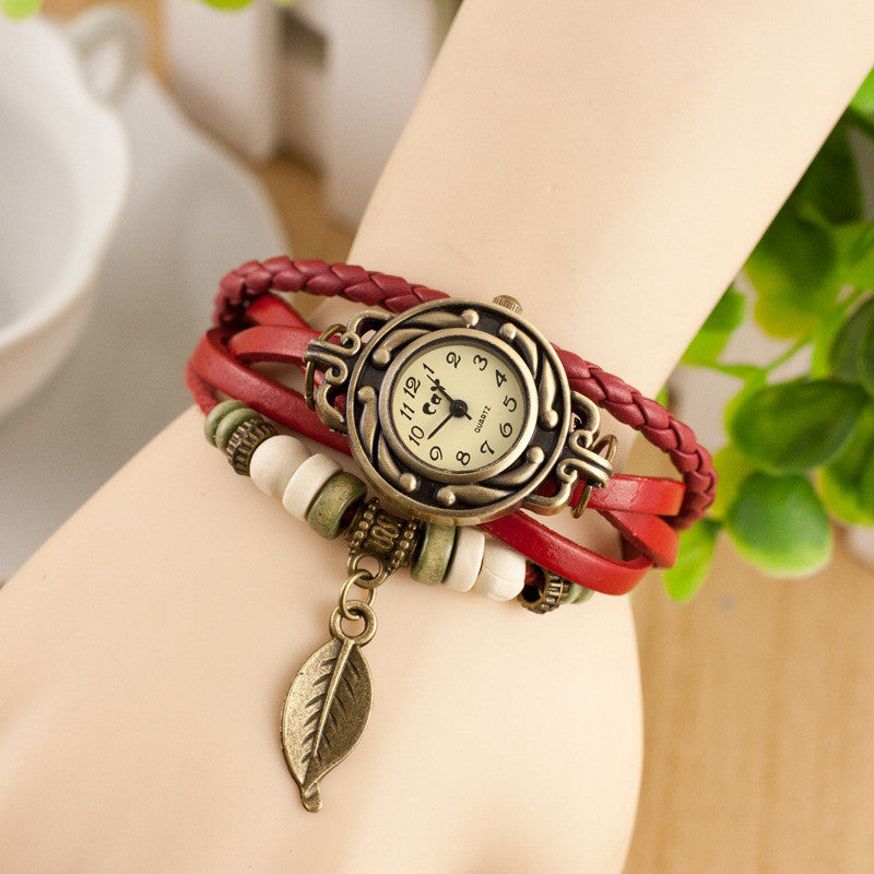 Retro Style Leaf Pendant Multilayer Watch - Oh Yours Fashion - 2
