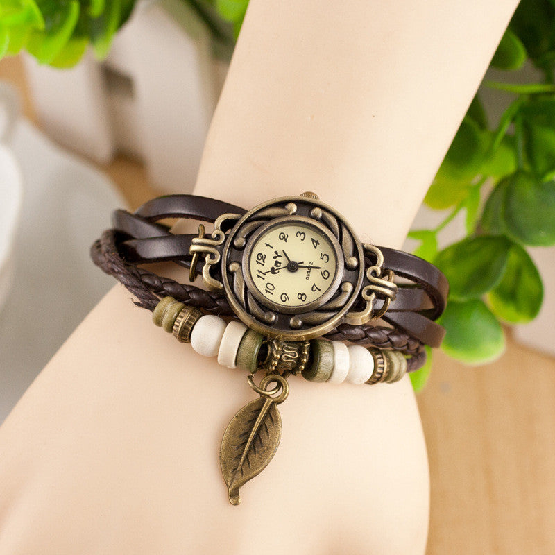 Retro Style Leaf Pendant Multilayer Watch - Oh Yours Fashion - 8