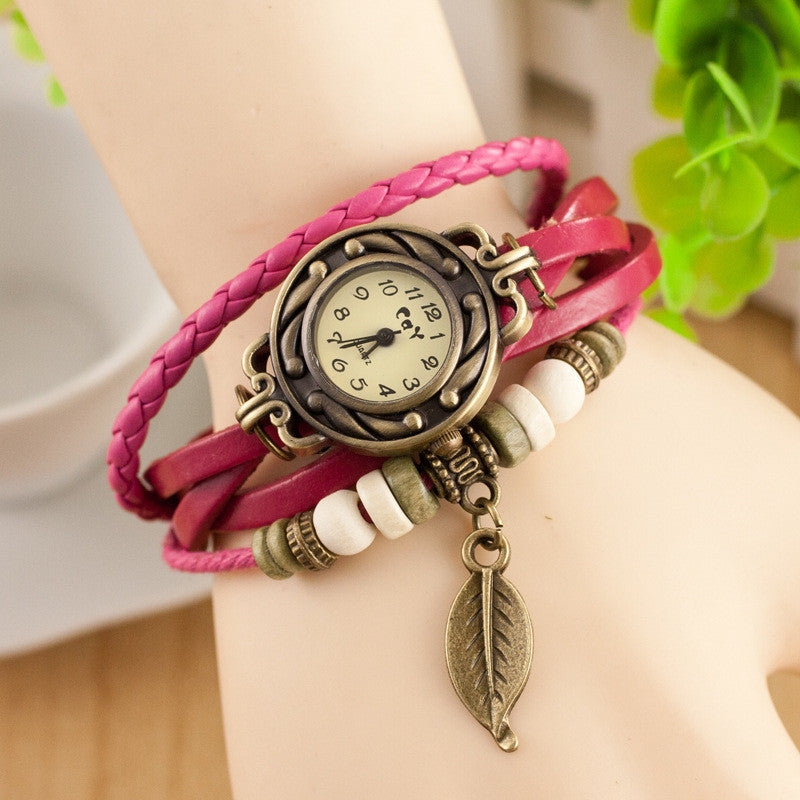 Retro Style Leaf Pendant Multilayer Watch - Oh Yours Fashion - 9