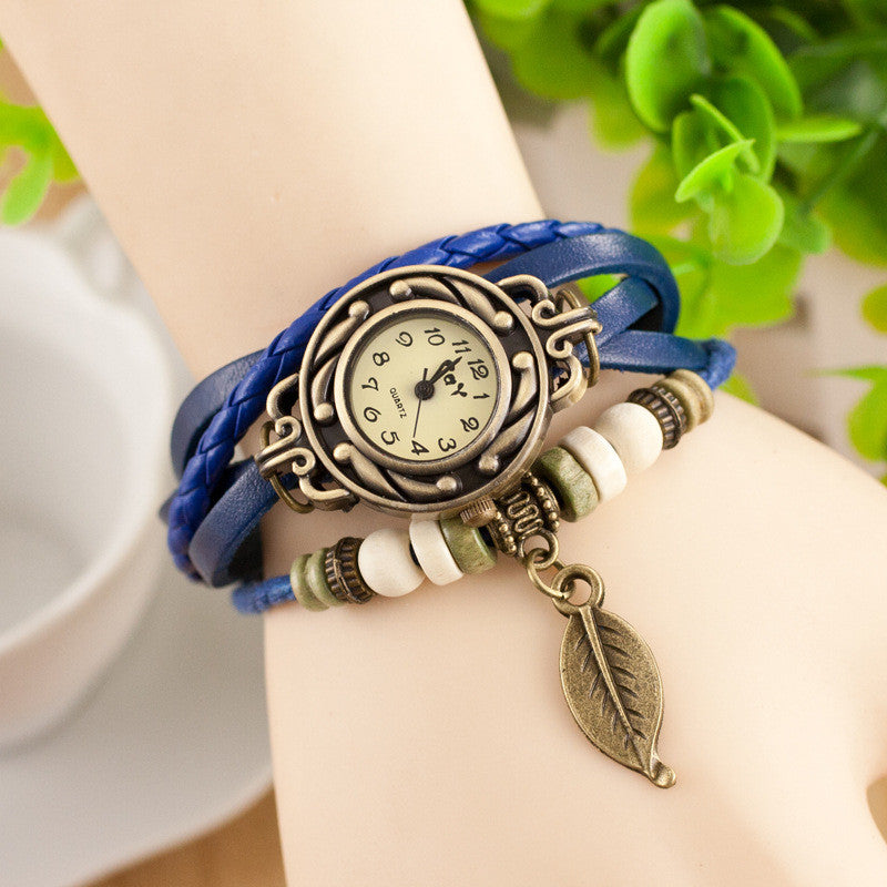 Retro Style Leaf Pendant Multilayer Watch - Oh Yours Fashion - 4