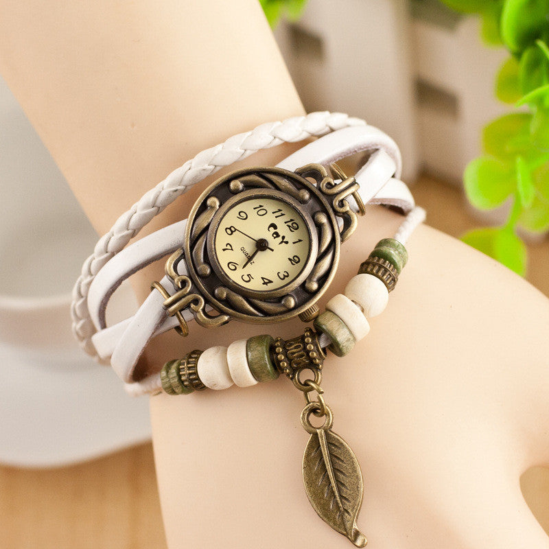 Retro Style Leaf Pendant Multilayer Watch - Oh Yours Fashion - 1