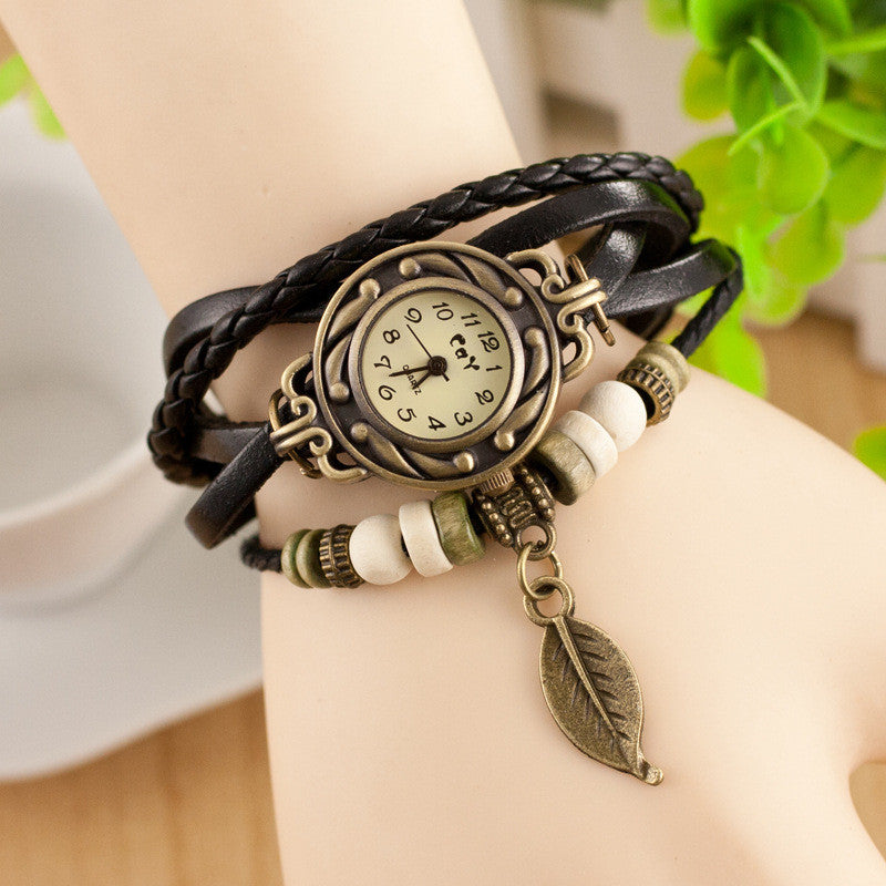 Retro Style Leaf Pendant Multilayer Watch - Oh Yours Fashion - 6