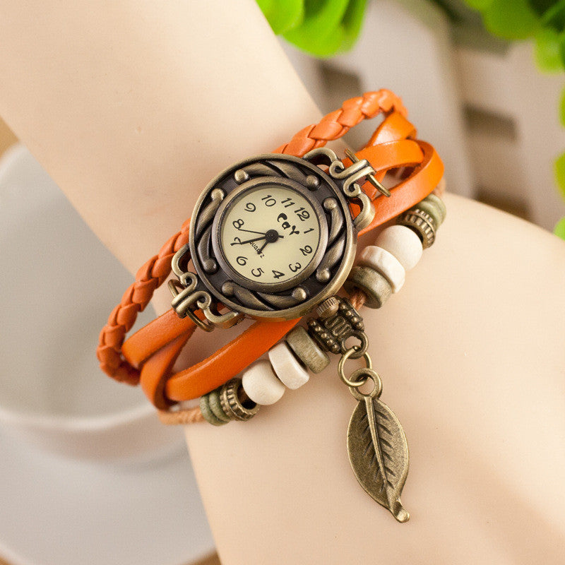 Retro Style Leaf Pendant Multilayer Watch - Oh Yours Fashion - 7