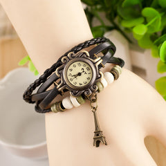 Retro Tower Pendant Woven Bracelet Watch - Oh Yours Fashion - 5