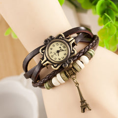 Retro Tower Pendant Woven Bracelet Watch - Oh Yours Fashion - 6