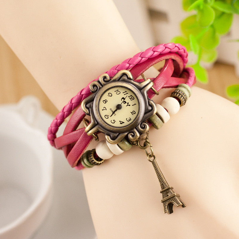 Retro Tower Pendant Woven Bracelet Watch - Oh Yours Fashion - 7