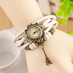 Retro Tower Pendant Woven Bracelet Watch - Oh Yours Fashion - 2
