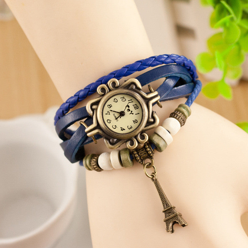 Retro Tower Pendant Woven Bracelet Watch - Oh Yours Fashion - 4