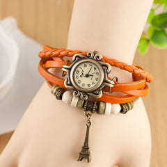 Retro Tower Pendant Woven Bracelet Watch - Oh Yours Fashion - 8