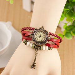 Retro Tower Pendant Woven Bracelet Watch - Oh Yours Fashion - 3