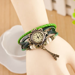 Retro Tower Pendant Woven Bracelet Watch - Oh Yours Fashion - 1