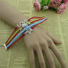 Beautiful Crystal Stars LOVE Leather Cord Bracelet - Oh Yours Fashion - 2