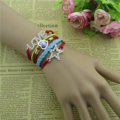 Beautiful Crystal Stars LOVE Leather Cord Bracelet - Oh Yours Fashion - 3