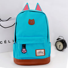 Cute Cat Ears Solid Color School Backpack Canvas Bag - Oh Yours Fashion - 6