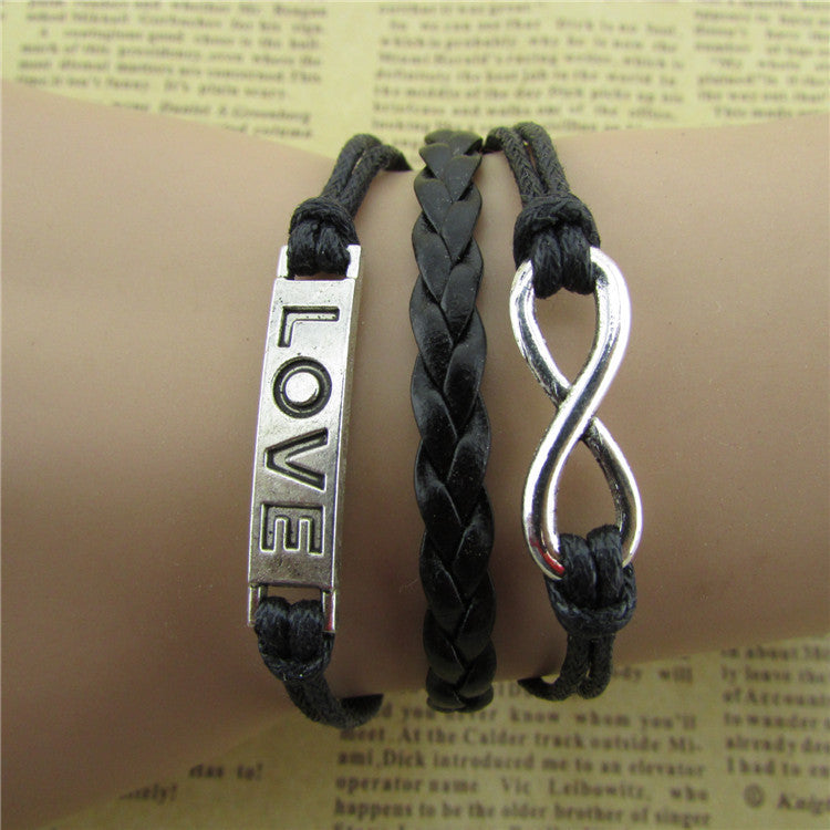Simple Fashion LOVE Black Wax String Bracelet - Oh Yours Fashion - 1