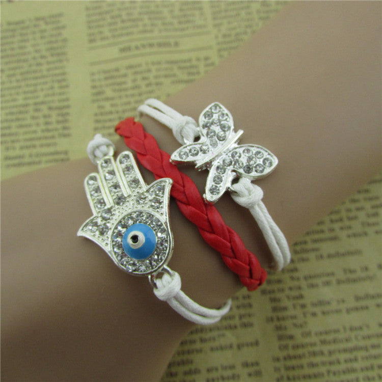 Bright Hand Eyes Butterfly Woven Bracelet - Oh Yours Fashion - 1