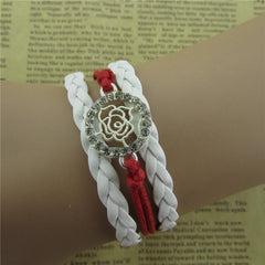 Beautiful Crystal Rose Woven Bracelet - Oh Yours Fashion - 1