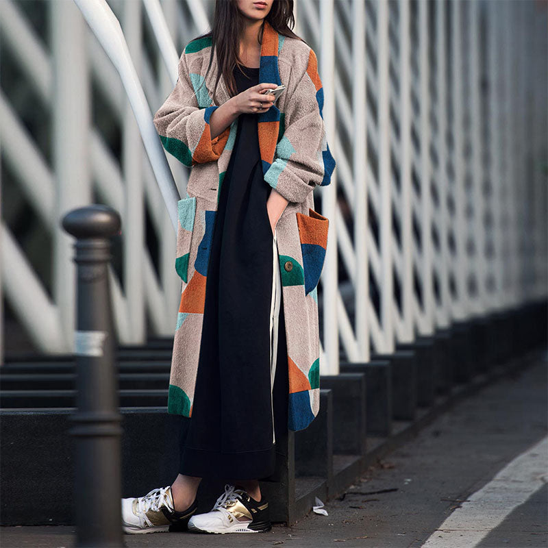 Lapel Geometric Print Over Coat