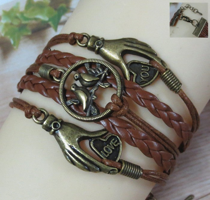 Interesting Hands Love birds Leather Cord Bracelet - Oh Yours Fashion