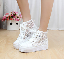 Sweet Sponge Thick Bottom Hollow Lace Sneakers - Oh Yours Fashion - 1