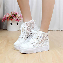 Sweet Sponge Thick Bottom Hollow Lace Sneakers