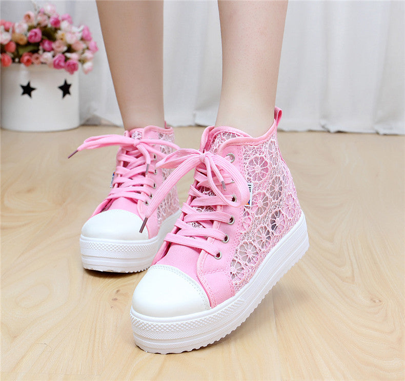 Sweet Sponge Thick Bottom Hollow Lace Sneakers - Oh Yours Fashion - 6