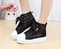 Sweet Sponge Thick Bottom Hollow Lace Sneakers - Oh Yours Fashion - 3