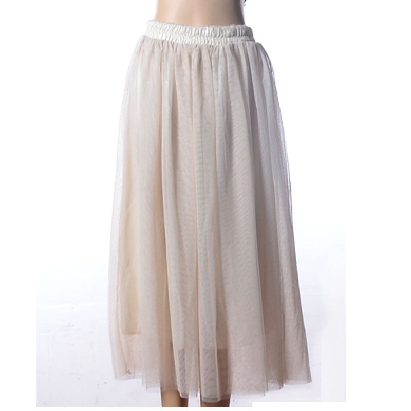 Double Layers Mesh Pleated Long Fluffy Beach Skirt - Oh Yours Fashion - 9