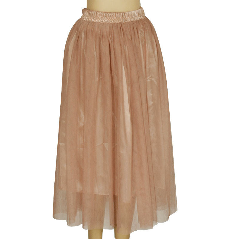 Double Layers Mesh Pleated Long Fluffy Beach Skirt - Oh Yours Fashion - 10
