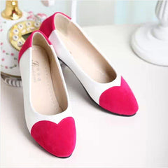 Sweet Heart Patchwork Low Cut Flat Shoes - Oh Yours Fashion - 8