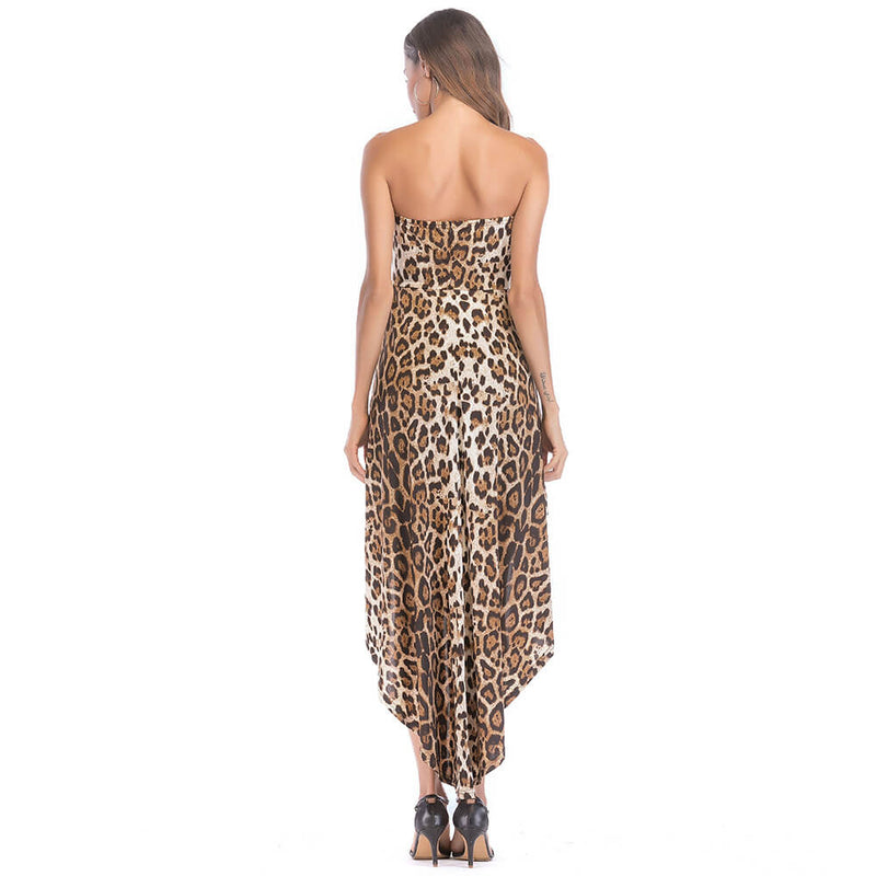 Leopard Low High Tube Jumpersuit