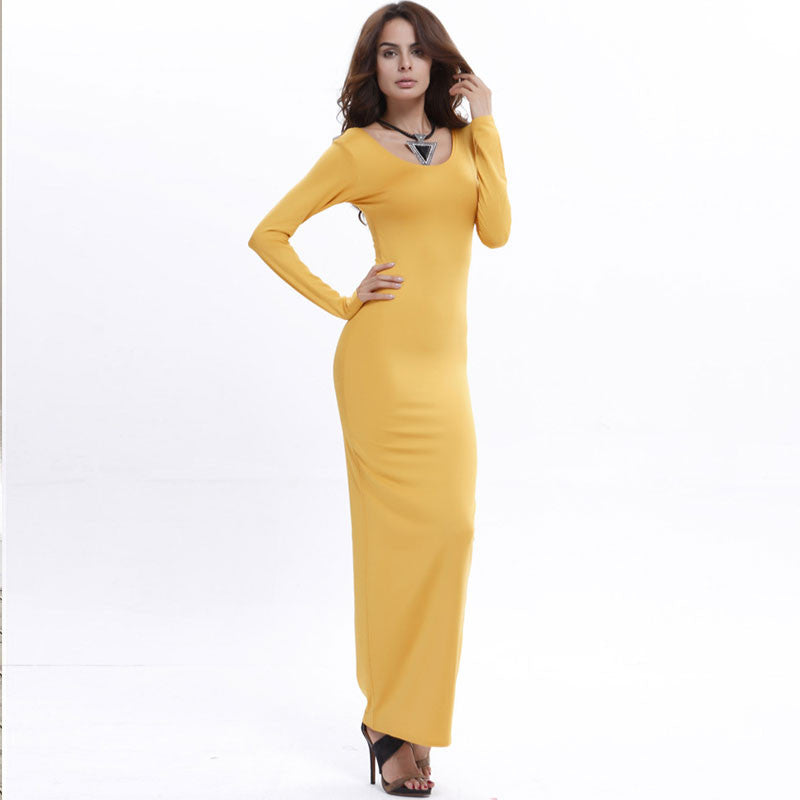 Elegant Pure Color Long Sleeve Scoop Bodycon Long Dress - Oh Yours Fashion - 1
