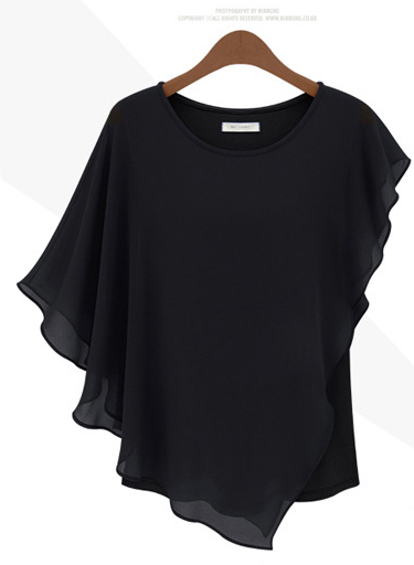 Irregular Scoop Sexy Falbala Chiffon Batwing Blouse - Oh Yours Fashion - 6