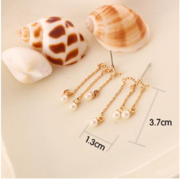 Beautiful Pearl Tassels Stud Clip Earrings - Oh Yours Fashion - 6