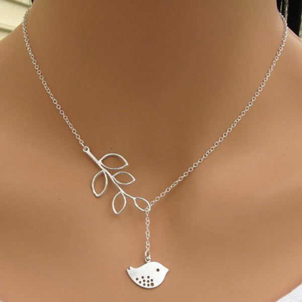 Stylish Women's Leaf Bird Pendant Necklace - O Yours Fashion - 1