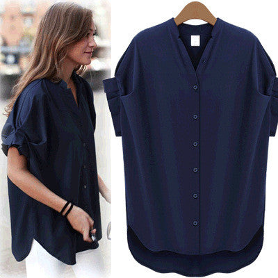 Little Stand V-neck Pure Color Short Sleeves Sexy Blouse - Oh Yours Fashion - 1
