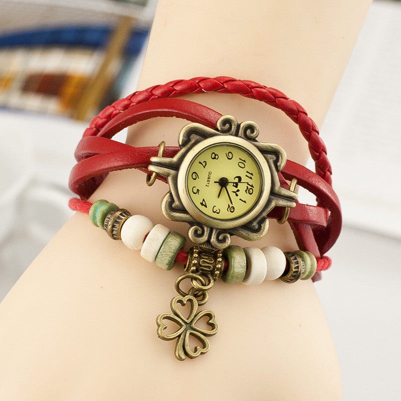 Retro Clover Woven Multilayer Watch - Oh Yours Fashion - 1