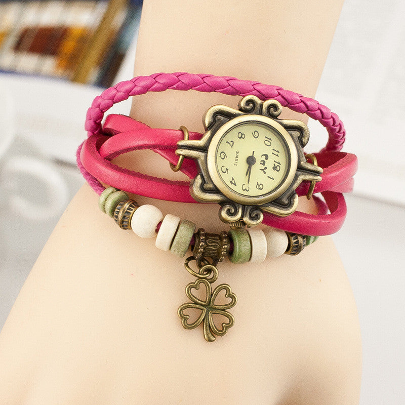 Retro Clover Woven Multilayer Watch - Oh Yours Fashion - 2