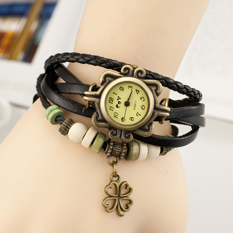 Retro Clover Woven Multilayer Watch - Oh Yours Fashion - 3