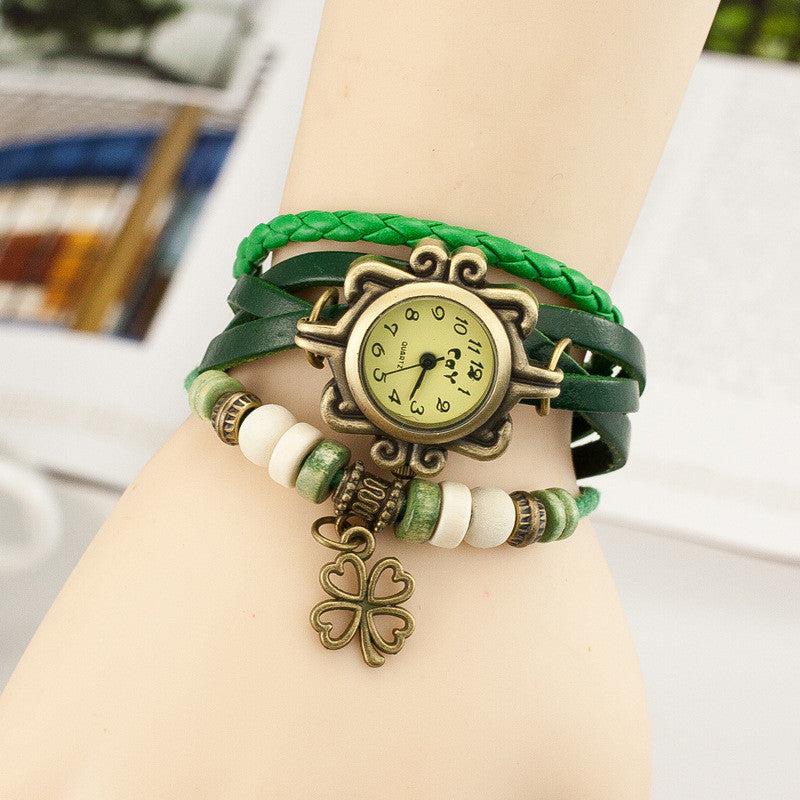 Retro Clover Woven Multilayer Watch - Oh Yours Fashion - 4