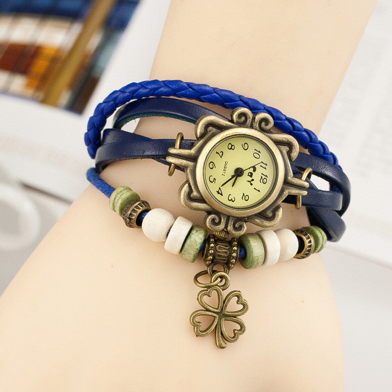 Retro Clover Woven Multilayer Watch - Oh Yours Fashion - 5