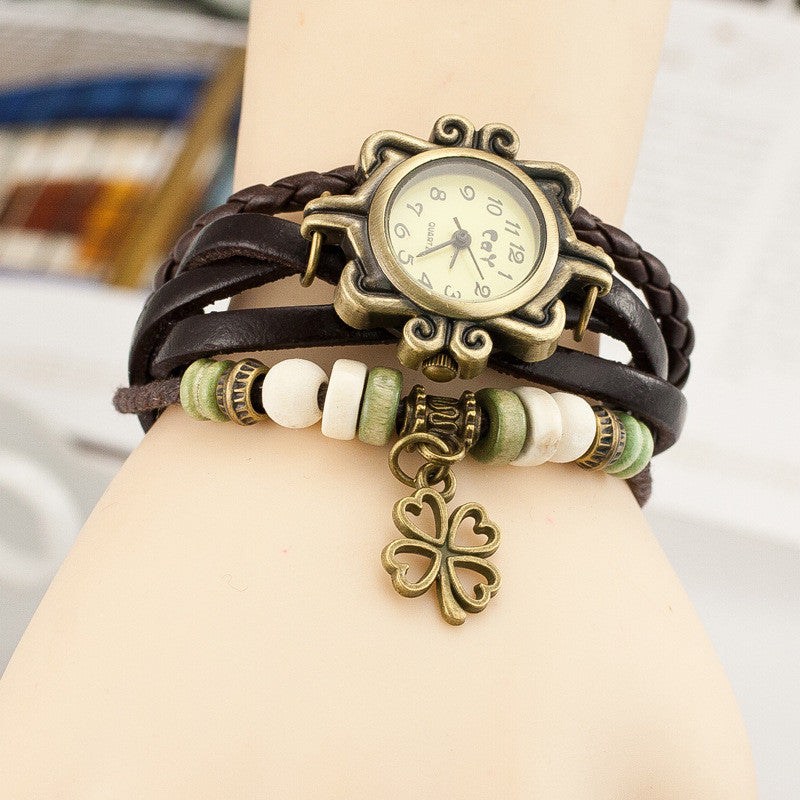 Retro Clover Woven Multilayer Watch - Oh Yours Fashion - 7