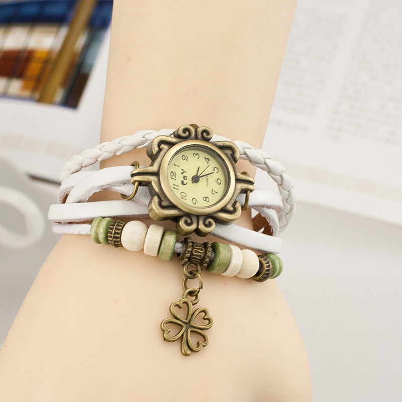 Retro Clover Woven Multilayer Watch - Oh Yours Fashion - 8