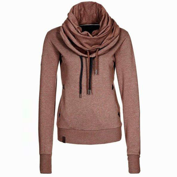 Cowl Neck Solid Color Womens Sweatshirt Hoodie - O Yours Fashion