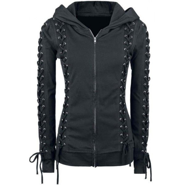 Lace-up Zippered Women Hoodie - Oh Yours Fashion