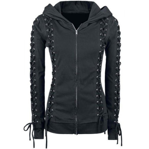 Lace-up Zippered Women Hoodie